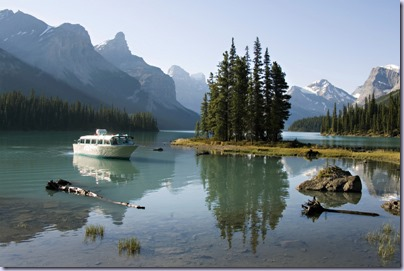 Spirit Island and Maligne Lake Boat Cruise in Jasper National Park, Alberta, Canada.